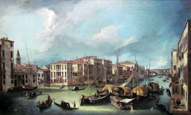 The Grand Canal: a view to the northeast on the Rialto Bridge by Antonio Canaletto