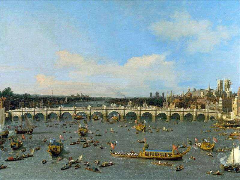 Westminster Bridge in London with a motorcade of the Lord Mayor on the Thames by Antonio Canaletto