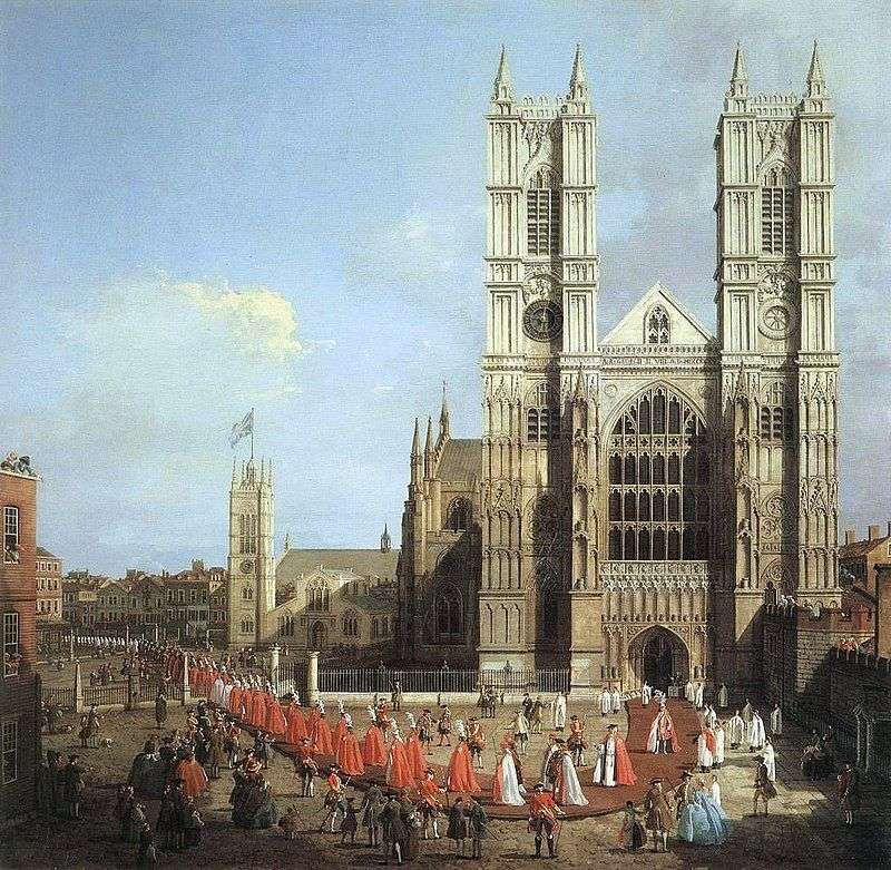 Westminster Abbey and the procession of the Knights by Antonio Canaletto