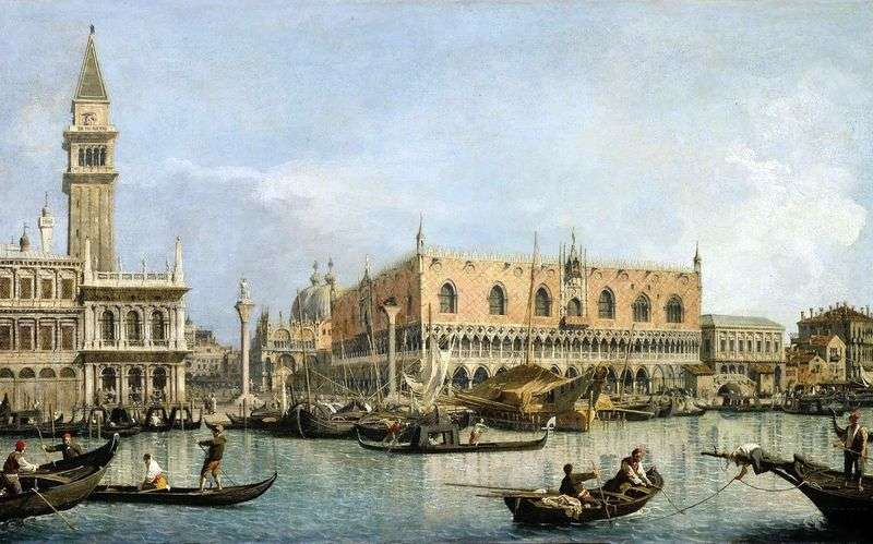View of the Doges Palace in Venice by Antonio Canaletto