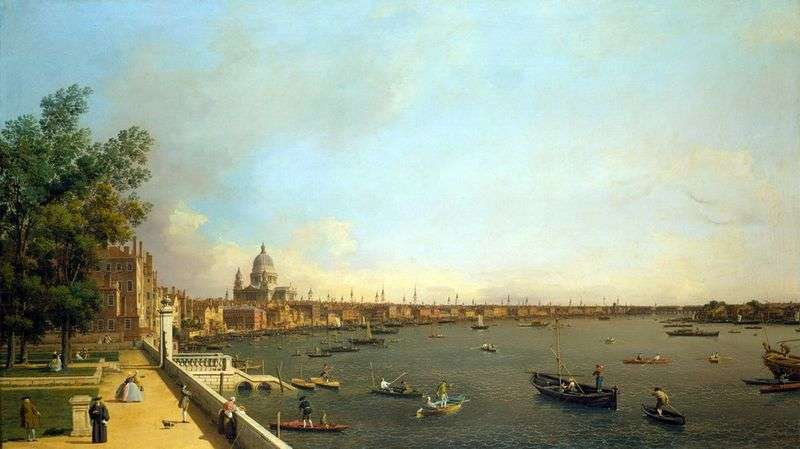 View of the Thames and London from Somersethaus by Antonio Canaletto