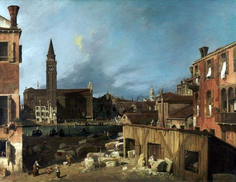 The yard of the stonemason by Antonio Canaletto