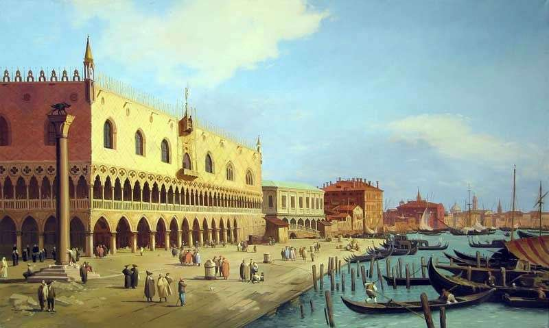 The Doges Palace and the Schiavoni Embankment by Antonio Canaletto