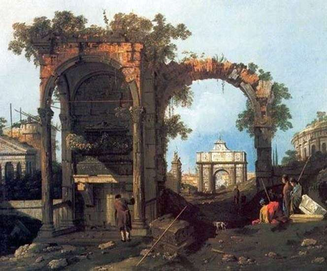 Capriccio with classical ruins by Antonio Canaletto