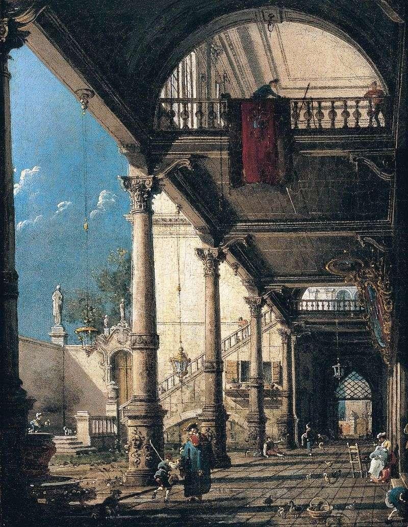 Capriccio with Colonnade by Antonio Canaletto