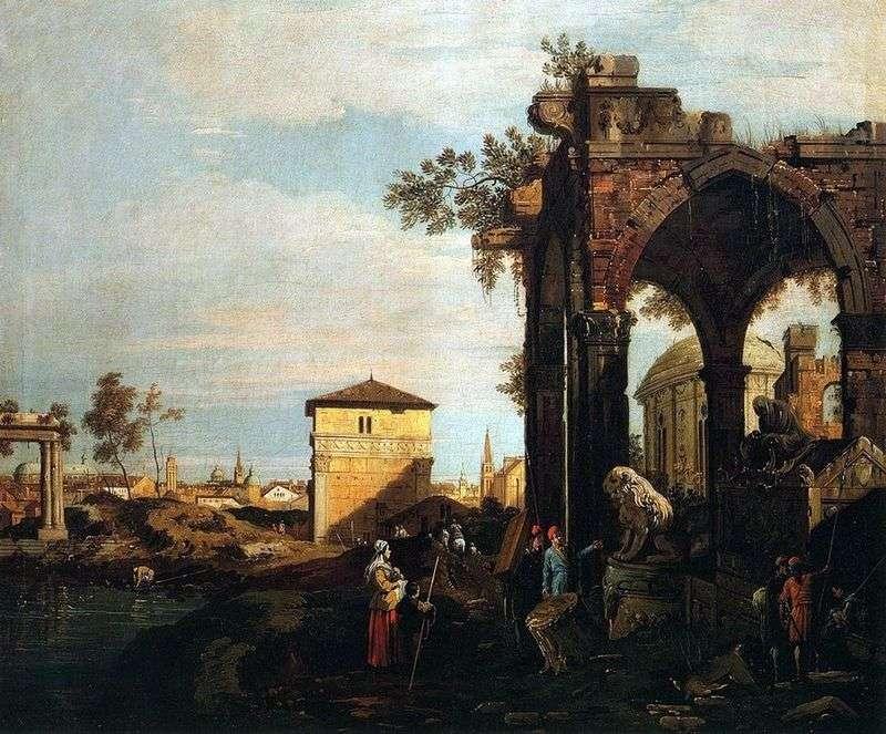 Capriccio with the ruins and gate of Portello in Padua by Antonio Canaletto