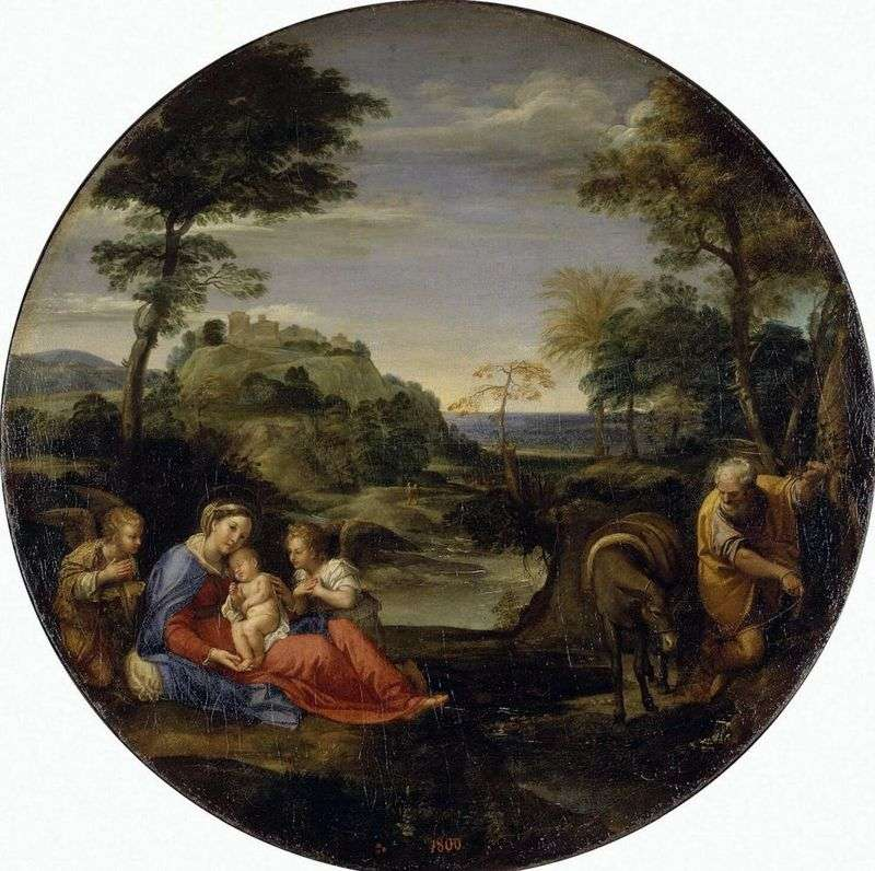 Landscape with a holiday scene of the Holy Family on the way to Egypt by Annibale Carracci