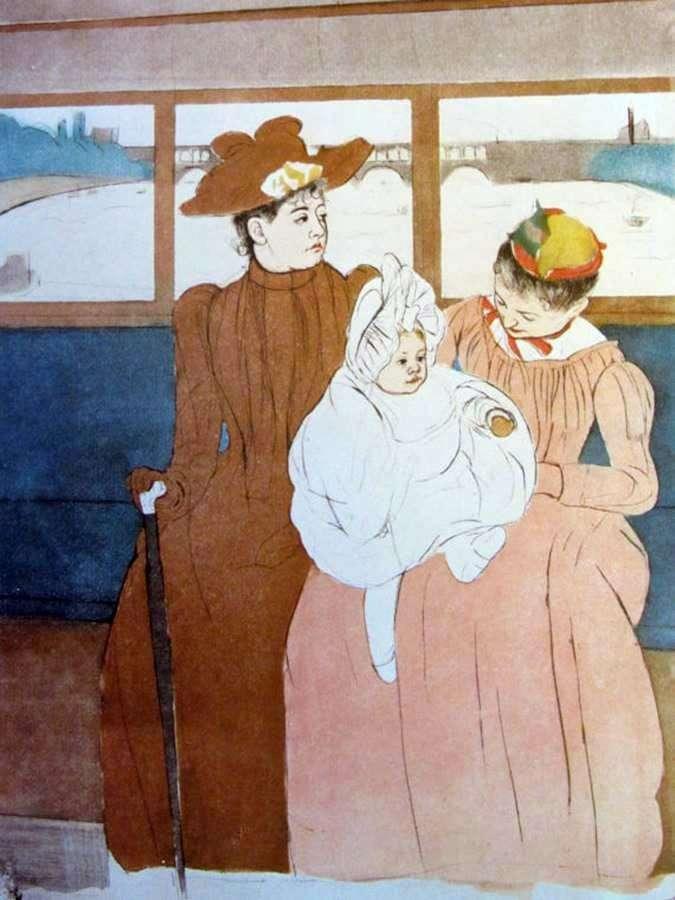 In the omnibus by Mary Cassatt