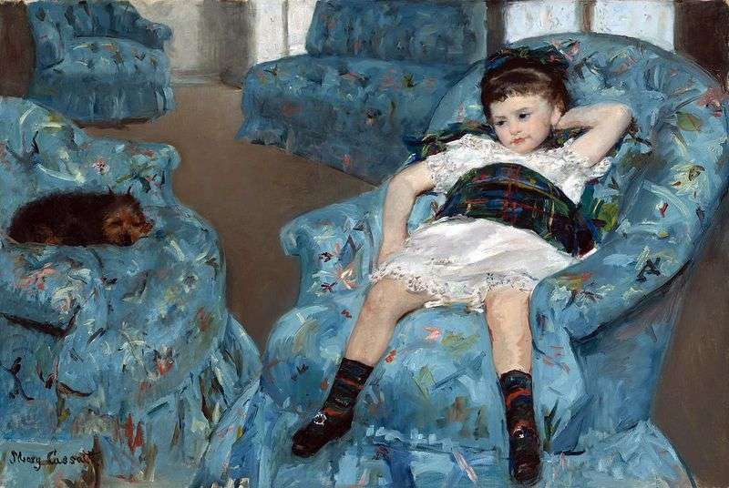 Girl in a blue armchair by Mary Cassatt
