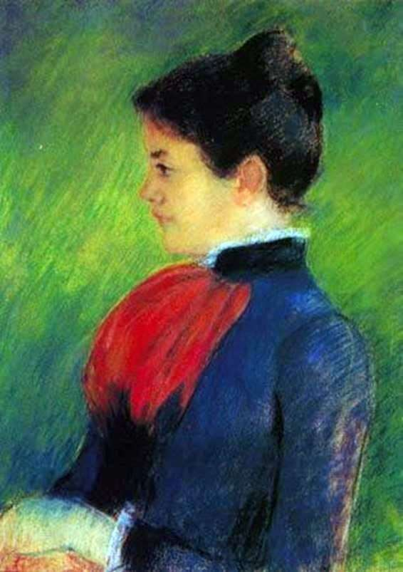 A woman in a blue blouse with a red tie by Mary Cassatt