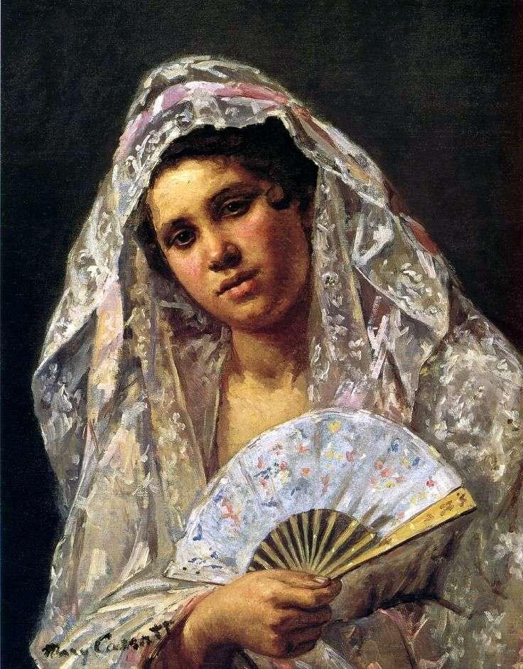 Spanish dancer in a lacy mantilla by Mary Cassatt