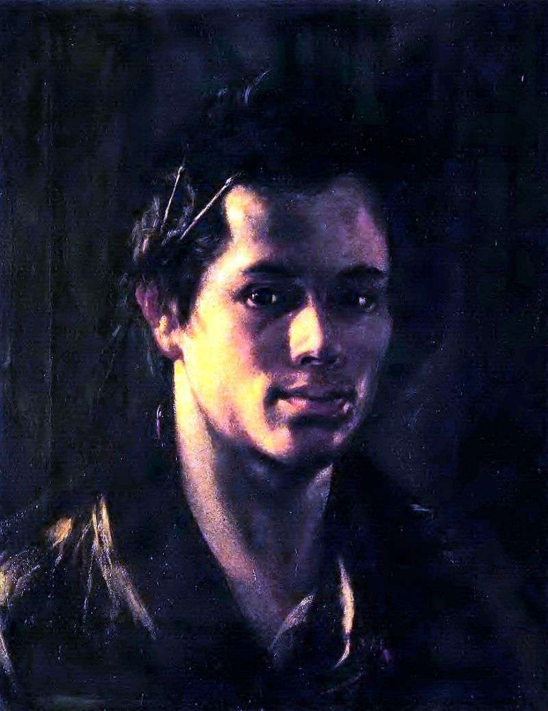 Self portrait with brushes behind the ear by Orest Kiprensky