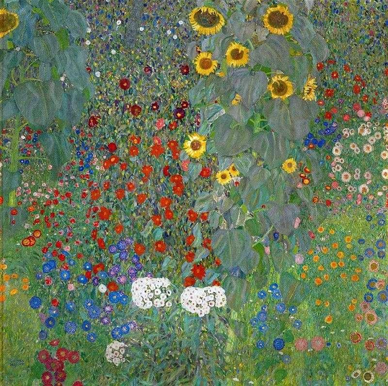 Sunflowers in a Rustic Garden by Gustav Klimt