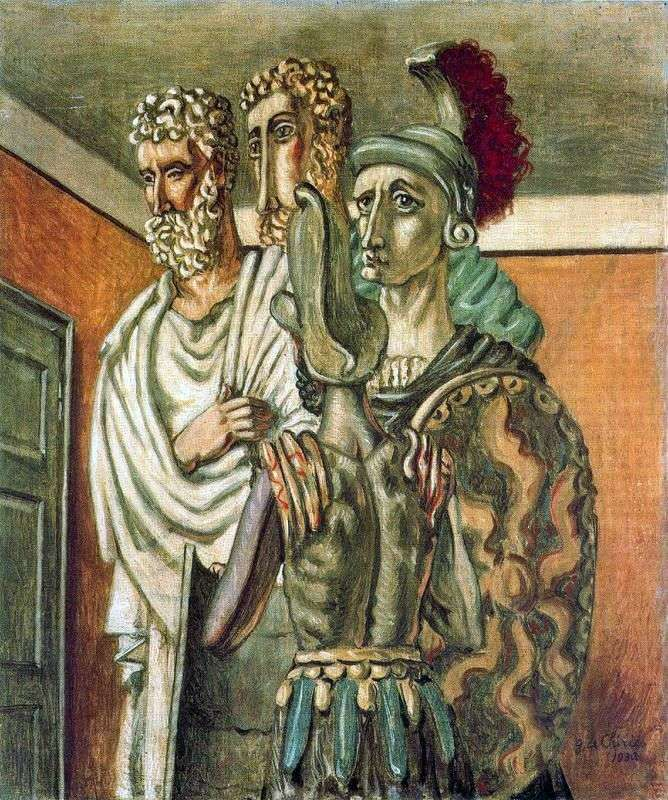 Classic figures in the room by Giorgio de Chirico