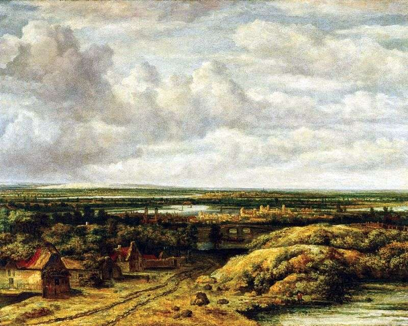 Landscape with huts by the road by Phillips Koninck