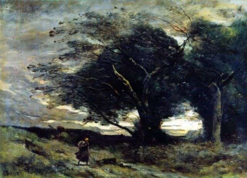 A gust of wind by Camille Corot
