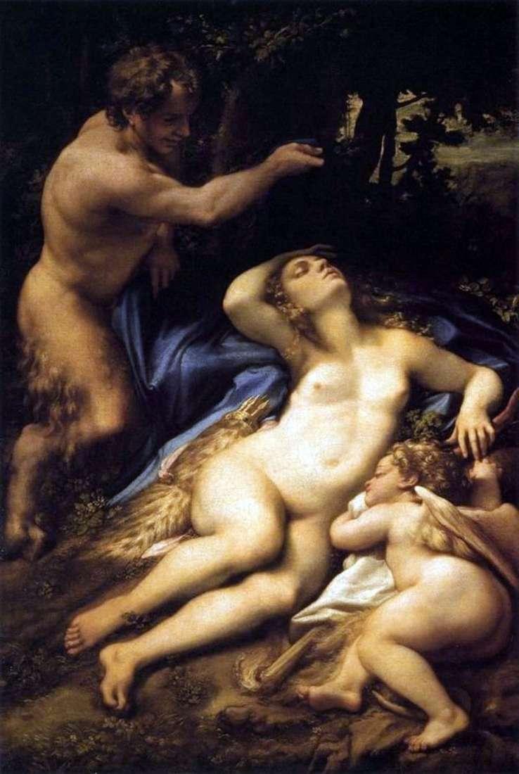 Venus And Cupid Followed By A Spy Satire By Correggio Antonio