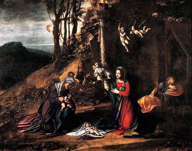 Christmas with the Holy. Elizabeth and the little John the Baptist by Correggio (Antonio Allegri)