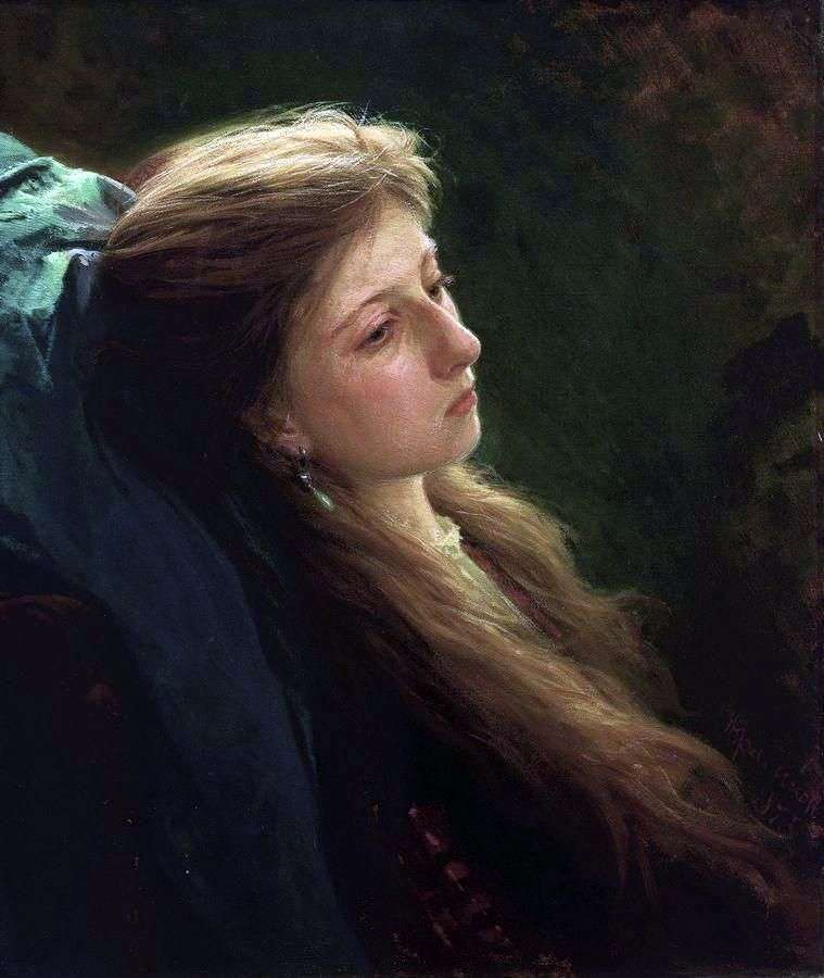 Girl with a fluffy scythe by Ivan Kramskoy