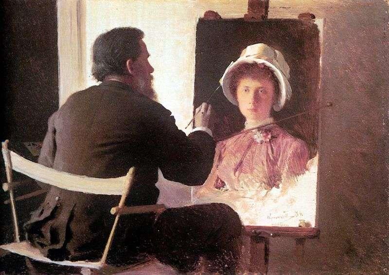 Kramskoy, writing a portrait of her daughter by Ivan Kramskoy