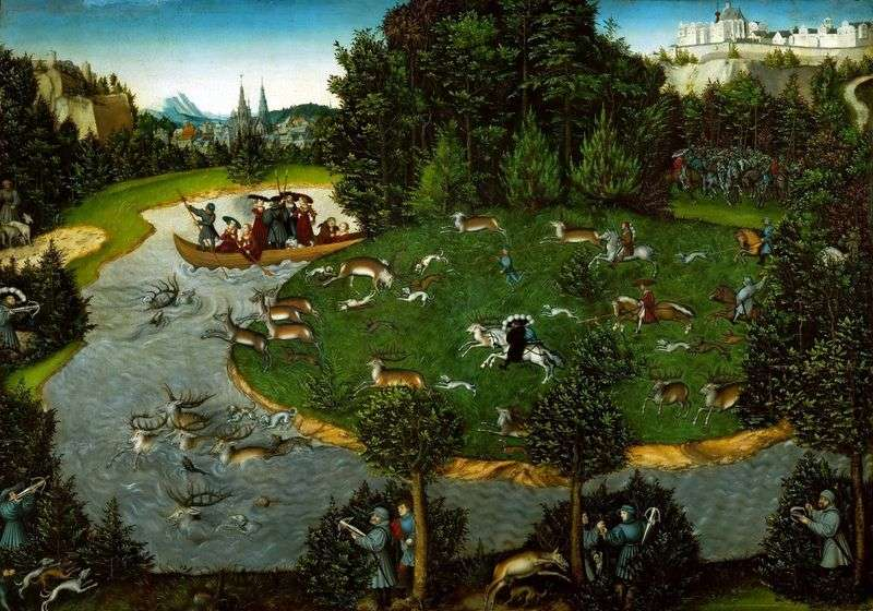 Hunting for deer by Lucas Cranach