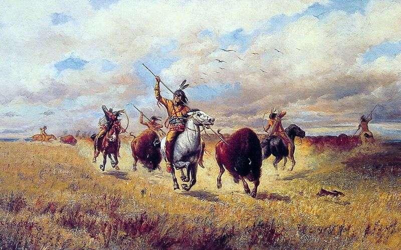 Bison hunting by Charles Craig