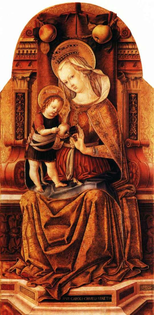 Maria with the baby on the throne by Carlo Crivelli