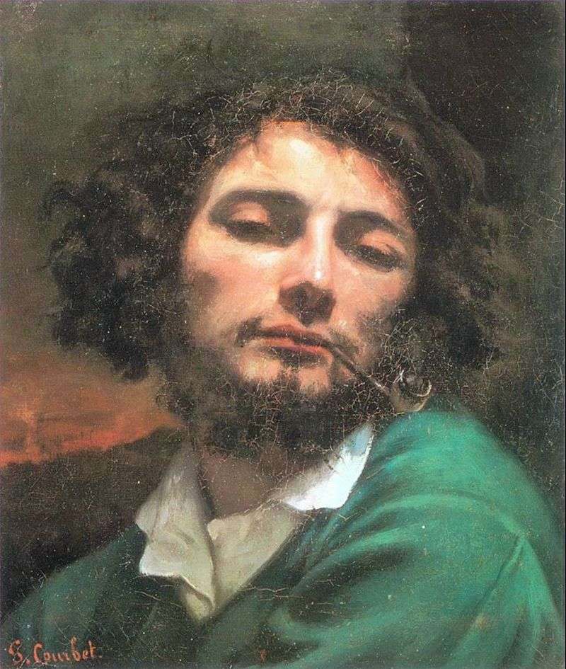 Self portrait with a tube by Gustave Courbet