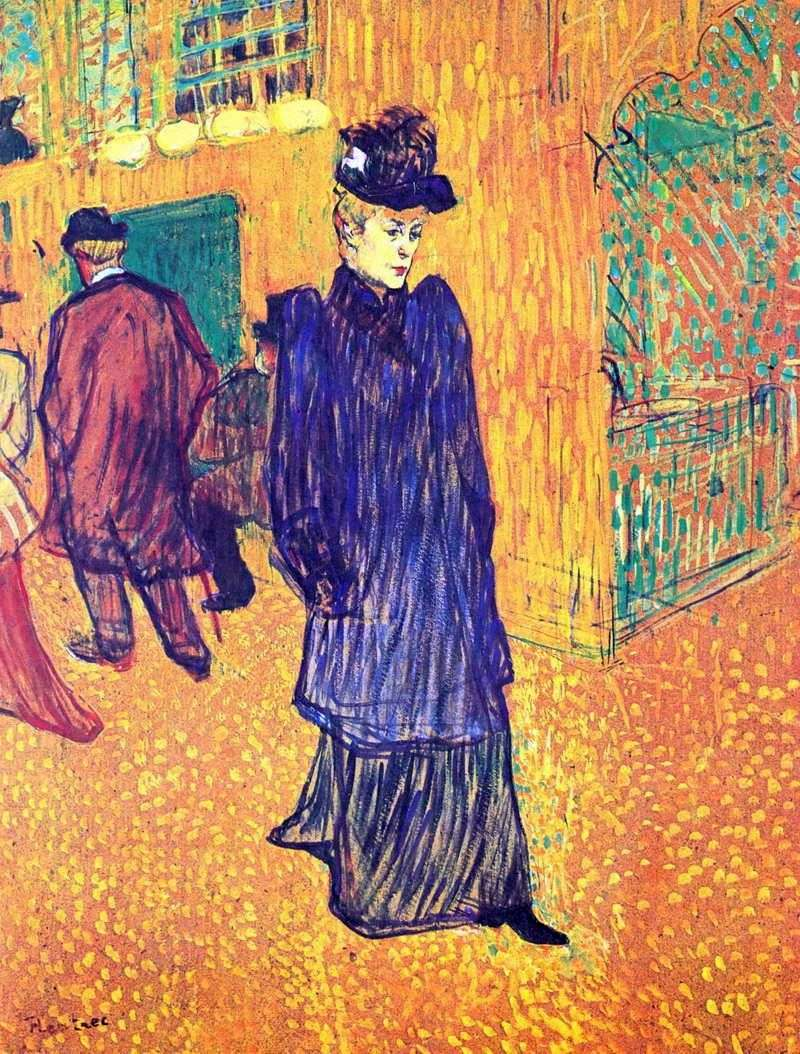 Jane Avril, coming out of the Moulin Rouge by Henri de Toulouse Lautrec