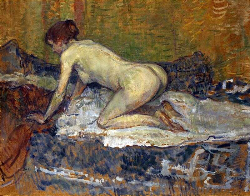 Red haired woman on her knees by Henri de Toulouse Lautrec