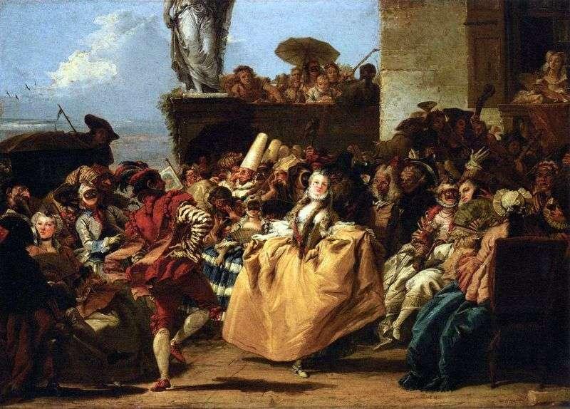 Carnival scene, or Minuet by Giovanni Domenico Tiepolo