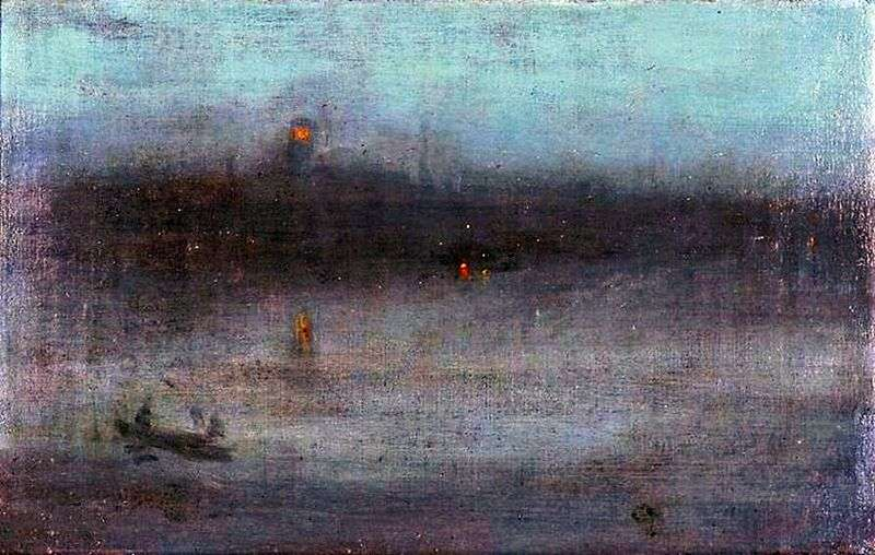 Nocturne in blue and silver: Wharf in Battersea by James Whistler