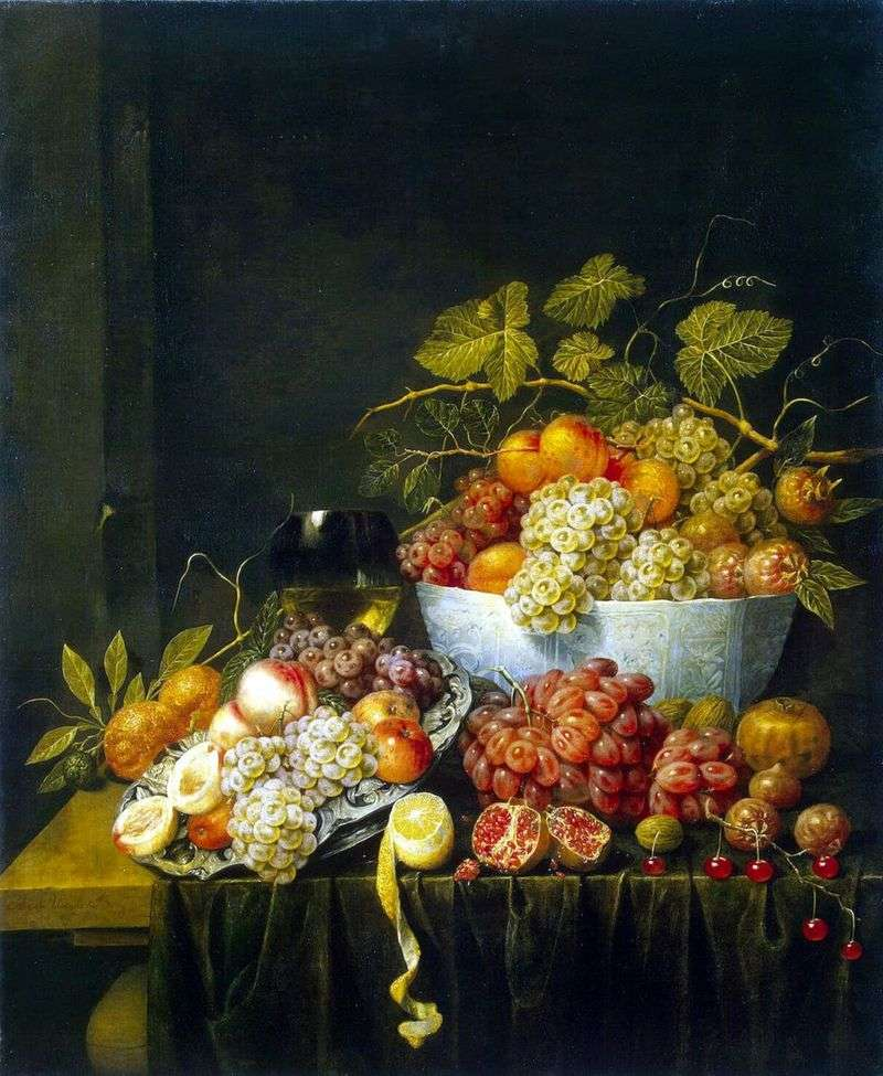 Still life with grapes by Adrian van Utrecht