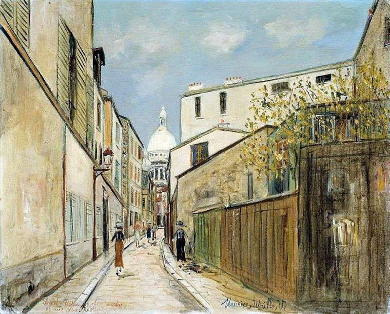 Basilica of Sacré Cœur and St. Rustic Street by Maurice Utrillo
