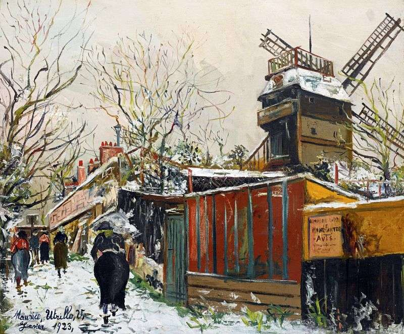 Moulin de la Galette under the snow by Maurice Utrillo