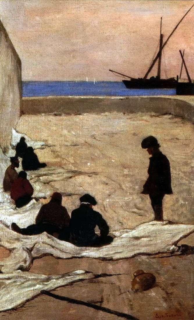 Repair of sails by Giovanni Fattori