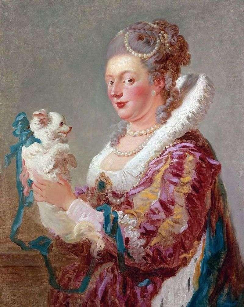 Lady with a dog by Jean Honoré Fragonard