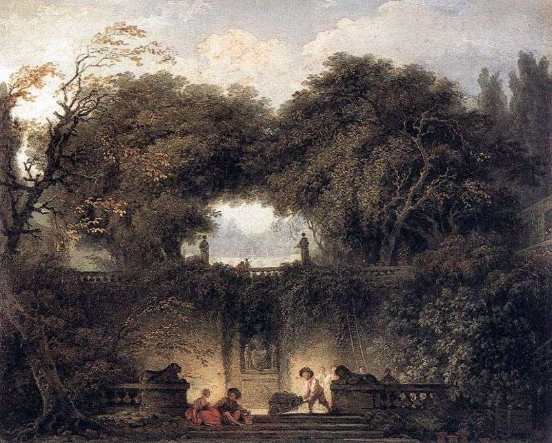 A small park by Jean Honore Fragonard