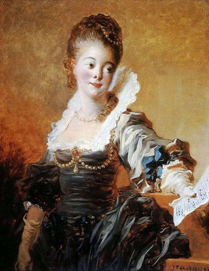 Portrait of a singer holding a music sheet by Jean Honore Fragonard