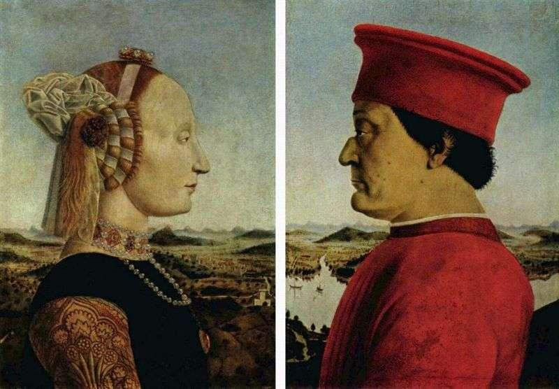 Portrait of the Duke of Federigo Montefeltro and the Duchess of Battista Sforza by Piero della Francesca