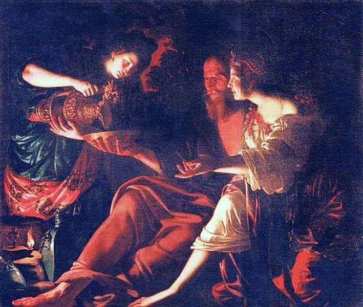 Lot with daughters by Giovanni Francesco Gwerrieri