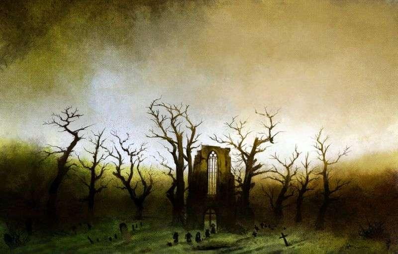 Abbey in the oak forest by Kaspar David Friedrich