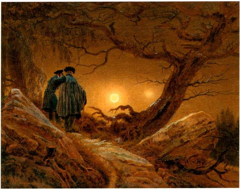 Two contemplating the moon by Caspar David Friedrich