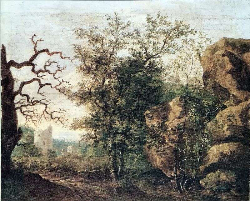 Landscape with a withered tree by Kaspar David Friedrich