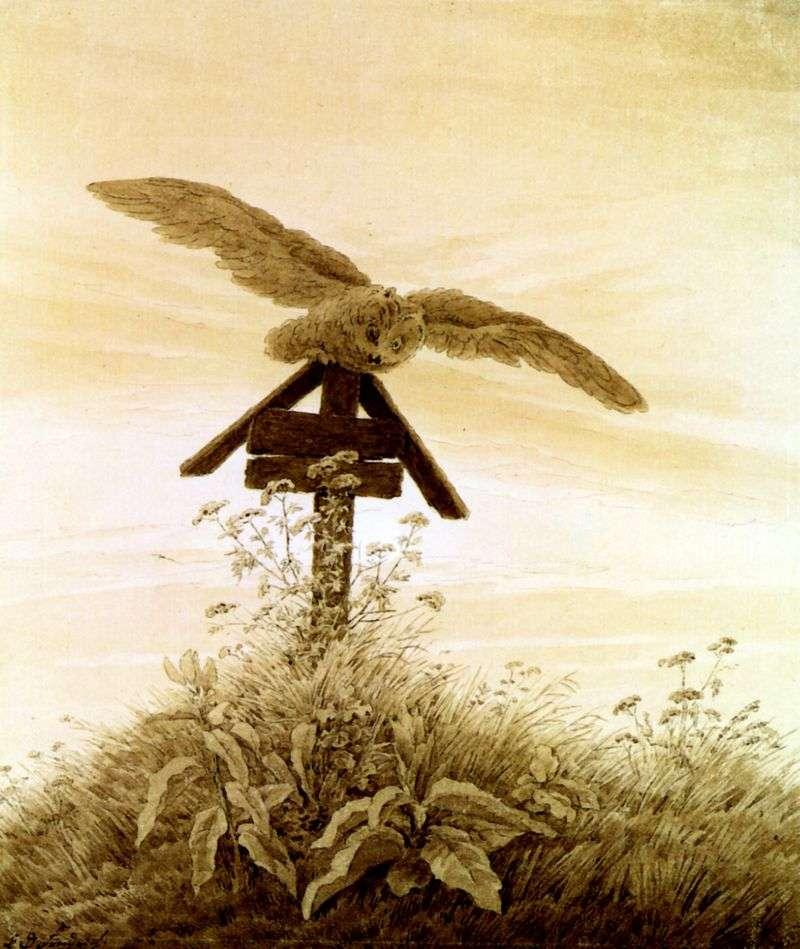 Owl on the grave by Kaspar David Friedrich