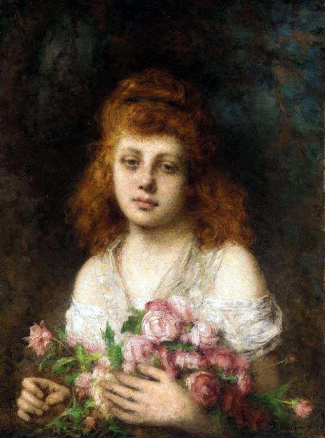 Red haired girl with a bouquet of roses by Alex Kharlamov