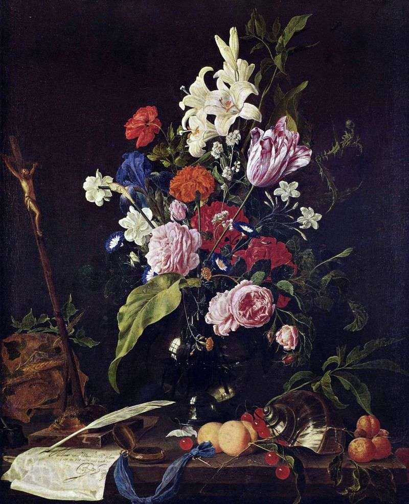Flowers in a glass vase and fruit by Jan Davids de Hem