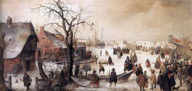 In the winter on the canal by Averkamp Hendrik