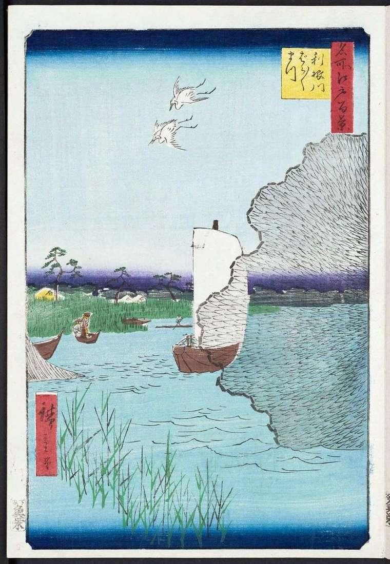 Barabara matsu on the shore of Tonegawa by Utagawa Hiroshige