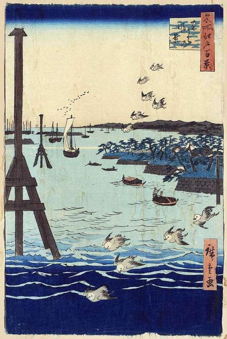 The bay in Sibaura. Painting, graphics, Japanese motifs, landscapes by Utagawa Hiroshige